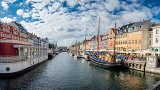 Nyhavn, brightly coloured townhouses, Copenhagen, Denmark