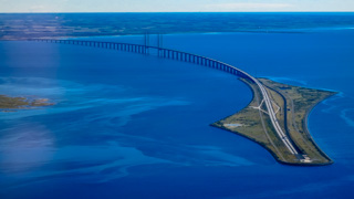 Oresund Bridge from the air, Copenhagen, Denmark