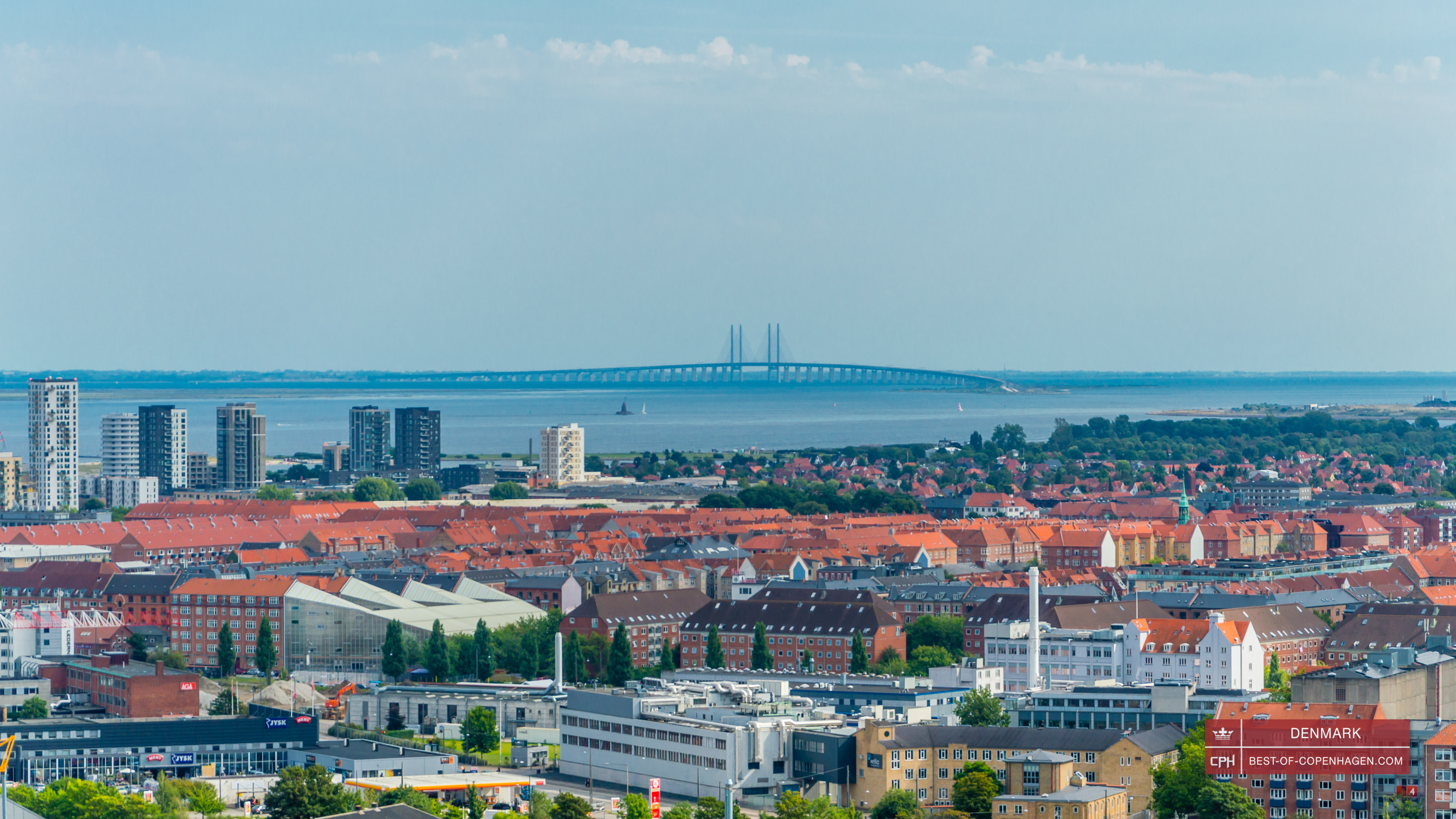 Oresund Bridge, view from the spire of the church of Our Saviour, Copenhagen, Denmark