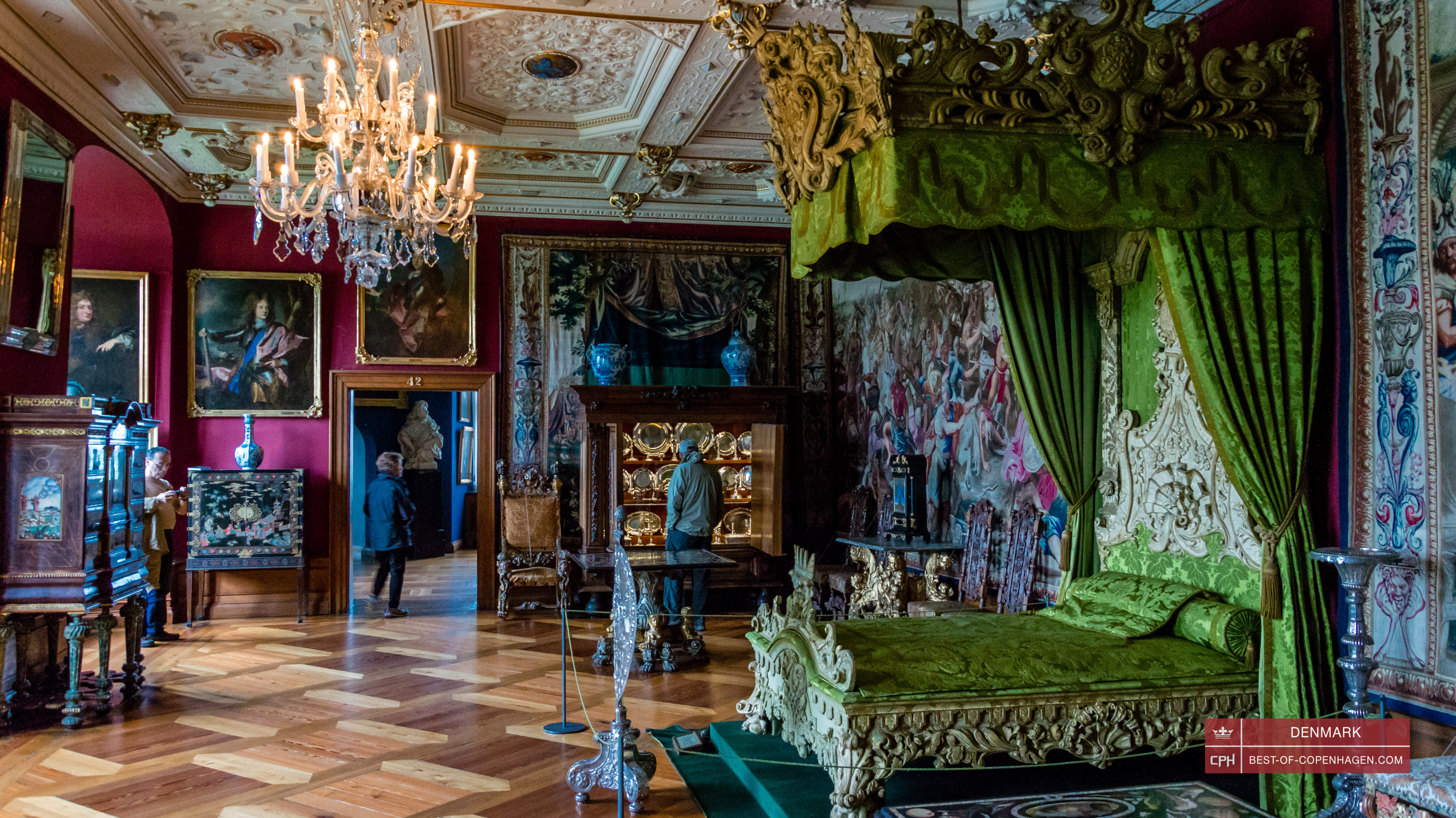 Queen's bedroom in Frederiksborg Castle in Hillerød, Near Copenhagen, Denmark