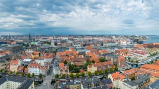 Panorama view from Church of Our Saviour tower, Copenhagen, Denmark