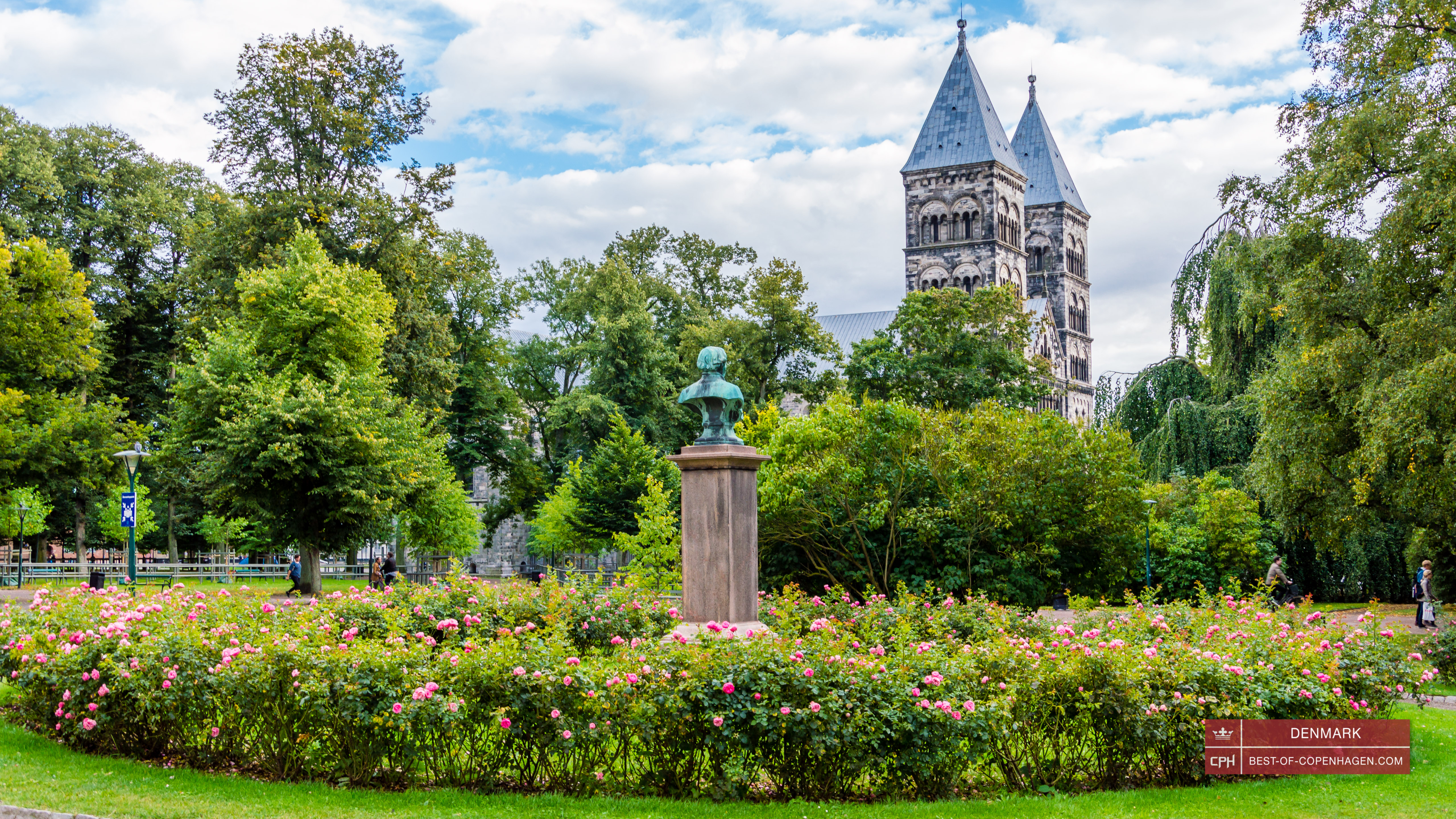 Lund Cathedral from the Lundagård park, Sweden